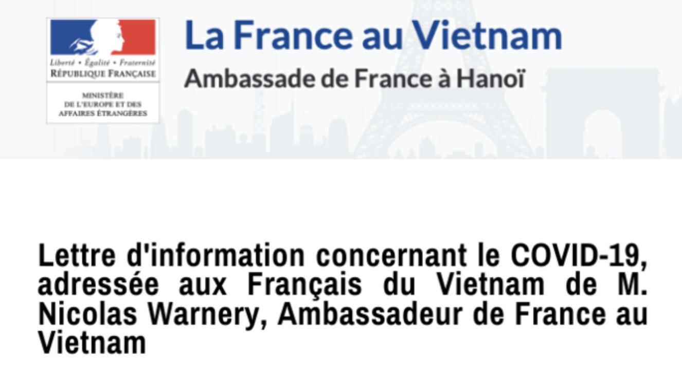 La lettre d'information envoyée aux Français du Vietnam par M. Nicolas Warnery, Ambassadeur de France au Vietnam, concernant l'épidémie de coronavirus COVID-19