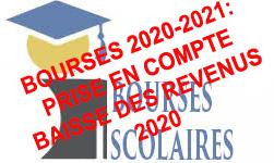 Prise en compte des revenus 2020 pour le calcul des bourses 2020-2021