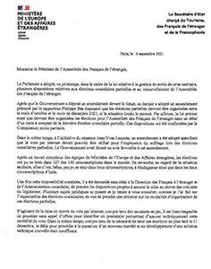 Organisation des élections partielles des Conseillers des Français de l'étranger et renouvellement de l'AFE .